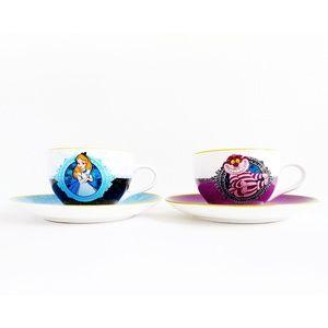 ALICE IN WONDERLAND Cheshire Cat 4pc Tea Cups Set